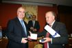 Carlos Jofre Ibanez receives the Medal of Honor with Special Mention hands of Antonio J. García Cuadra, Director General of Public Works of the Autonomous Community of La Rioja